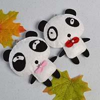 How to Make Handmade White and Black Felt Panda Hanging Ornaments