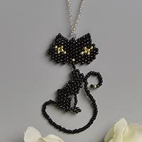 How to Make Lovely Cat Pendant Necklace with Black Seed Beads