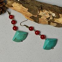 How to Make a Pair of Easy Red Glass Bead and Turquoise Bead Drop Earrings