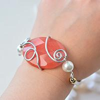 Pandahall Instruction on How to Make Wire Wrapped Gemstone Bead Bracelet with Pearl Beads