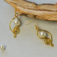 How to Make a Pair of Easy Golden Wire Wrapped Earrings with White Pearl Beads