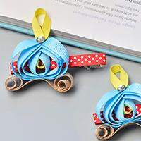 Easy Tutorial on How to Make Pumpkin Car Ribbon Hair clip for Kids