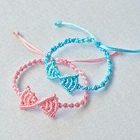 How to Make Pink and Blue Nylon Thread Butterfly Bow Friendship Bracelets