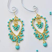 PandaHall Tutorial on How to Make Delicate Turquoise Bead Heart Dangle Earrings