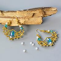 PandaHall Tutorial on How to Make Vintage Glass Bead Wing Dangle Earrings