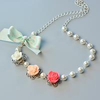 How to Make a Beaded Flower Necklace with White Pearl Beads and Ribbon Bowknot