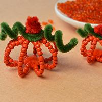 How to Make Simple Pumpkin Decoration for Halloween with Seed Beads