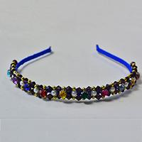 Pandahall Tutorial on How to Make Glass Beaded Headband with Blue Ribbon
