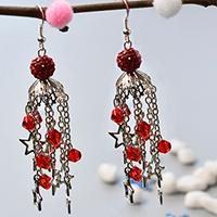PandaHall Original DIY - How to Make Glass Beaded Star Dangle Earrings for Christmas