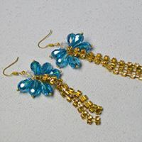 How to Make a Pair of Blue Glass Bead and Golden Chain Tassel Drop Earrings