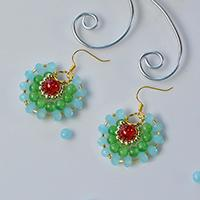 How to Make Fresh Three-Layer Hoop Earrings with Copper Wire and Glass Beads