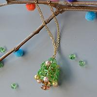 How to Make Christmas Tree Pendant Necklace with Glass Beads and Pearl Beads