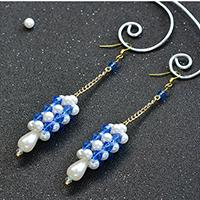 How to Make a Pair of Long Column Drop Earrings with Blue Glass Beads and White Pearl Beads
