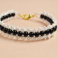 Pandahall Tutorial on How to Make White Seed Beads Bracelet with Black Pearl Beads