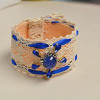 Pandahall Original DIY- How to Make a Handmade Blue Beads Cuff Bracelet with White Lace