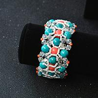 PandaHall Tutorial on How to Make a Delicate Turquoise Bead Wide Bracelet