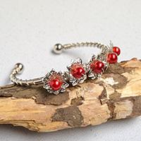 Pandahall Original DIY Project - How to Make Silver Flower Bangle Bracelets with Red Pearl Beads