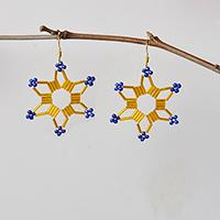 How to Make a Pair of Gold Tube Beaded Star Earrings with Blue Seed Beads