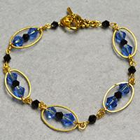 Pandahall Tutorial on How to Make Blue Glass Bead Bracelet with Golden Oval Links