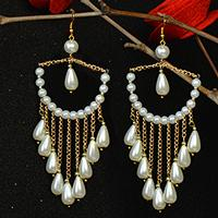 How to Make Graceful Chandelier Earrings with White Pearl Beads and Golden Chains