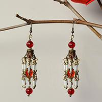Pandahall Tutorial on How to Make Vintage Style Dangle Earrings with Red Glass Beads