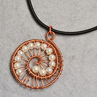 How to Make a Wire Wrapped Pendant Necklace with White Pearl Beads Decorated