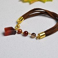 Pandahall Original Project- How to Make Simple Agate Beaded Suede Cord Bracelet