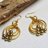 Easy PandaHall Tutorial - How to Make a Pair of Golden Wire Wrapped Hoop Earrings