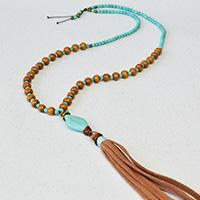 How to Make a Boho Style Tassel Necklace with Turquoise Beads and Wood Beads