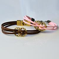Valentine's Day DIY Project - How to Make a Pair of Pink and Brown Suede Cord Bracelets for Lovers