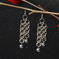How to Make Chain Maille Dangle Earrings with Jumprings and Hematite Beads
