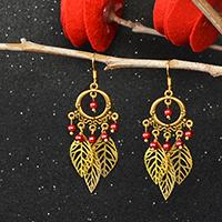 How to Make Tibetan Style Chandelier Leaf Dangle Earrings with Red Pearl Beads