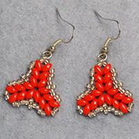 Pandahall Tutorial on How to DIY Red 2-Hole Seed Beads Earrings with Silver Seed Beads