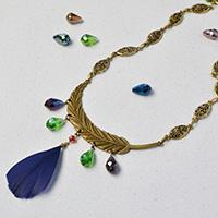 Pandahall Original Project- How to Make Tibetan Style Feather Pendant Necklace with Drop Glass Beads