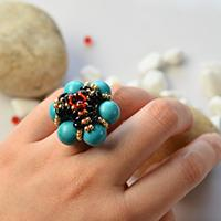How to Make Flower Turquoise and Seed Beads Ring