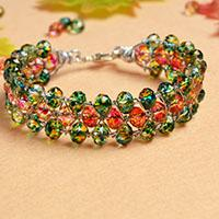 Beginners' DIY Project - How to Make a Green and Red Glass Bead Bracelet within 2 Steps