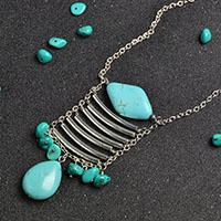 How to Make Special Turquoise and Tube Beads Pendant Chain Necklace