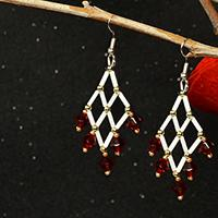 How to Make Elegant Diamond-shaped Bugle Bead Earrings