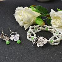 Pandahall Original Jewelry Set – How to Make White Pearl Bead Bracelet and Leaf Drop Earrings