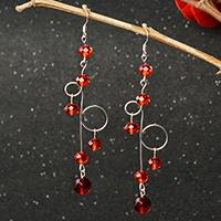 Simple Earrings Pattern-How to Make Red Glass Beads Dangle Earrings