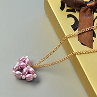 Valentine's Day Project - How to Make a Purple Pearl Bead Heart Pendant Necklace with Golden Chain