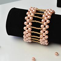 PandaHall Tutorial on How to Make an Elegant Wide Bracelet with Pearl Beads and Seed Beads