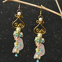 PandaHall Original Designs – Simple Wire Wrapped Dangle Earrings with Gemstone Pendants