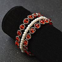 How to Make Red Glass Bead Bracelets with White Pearl Beads and Seed Beads