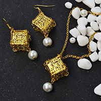 Pandahall Original DIY Project - How to Make Golden Cube Pendant Necklace and Earrings Jewelry Set