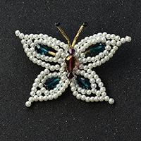 How to Make Elegant Pearl and Drop Glass Beads Butterfly Brooch