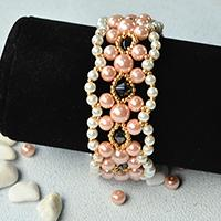 Pearl Bracelet Pattern - How to Make Wide Pink and White Pearl Bead Bracelets