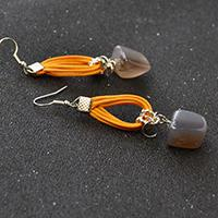 Easy Earrings Design – How to Make a Pair of Gemstone Dangle Earrings with Orange Cords