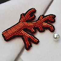 Embroidery Jewelry Design - How to Make an Embroidery Seed Beaded Coral Brooch