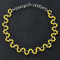 Pandahall Tutorial on How to Make a Yellow Seed Bead Necklace with Jump Rings